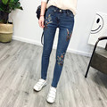 Women's Fashion Flower Embroidery High Waist Jeans Women Femme Skinny Denim Stretch Pencil Pants Slim Ankle-length Jeans Pant