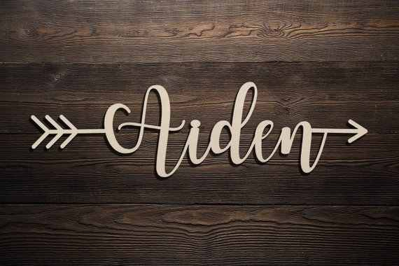 Custom Script Word Personalized Wood Sign Wooden Name Rustic Cursive Word Room Decoration Nursery Wall Hanging Personalized Name