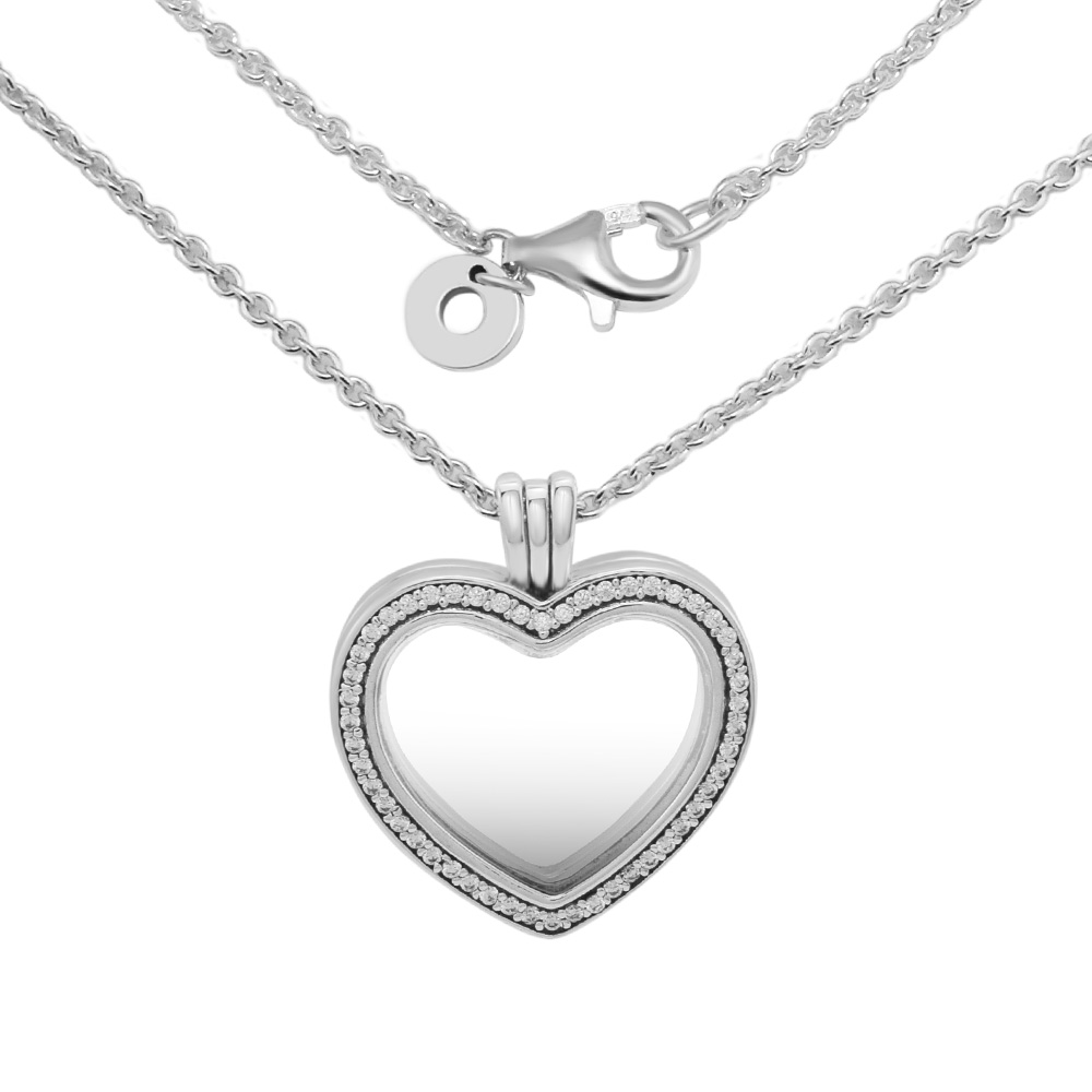 цена на Pandulaso Sparkling Floating Heart Locket Necklace 925 Sterling Silver Jewelry Making Necklace For Women Fit For Beads Fashion