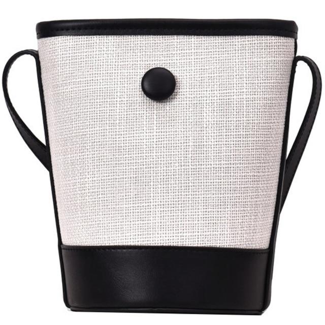 Bolsa de Color contraste tipo cubo FGS 2019 bolsa playa tejida lino para  mujer versión coreana hombro Diagonal