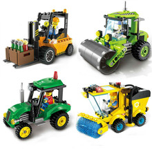 цена на City Series Building Block  Sweeper Car Truck Construction Educational Building Blocks Enlighten Toys toys for children