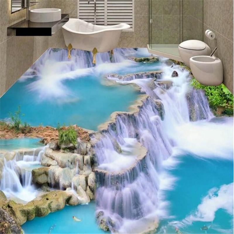 beibehang Waterfall three dimensional 3d flooring bathroom kitchen walkway waterproof self adhesive wallpaper papel de parede in Wallpapers from Home Improvement