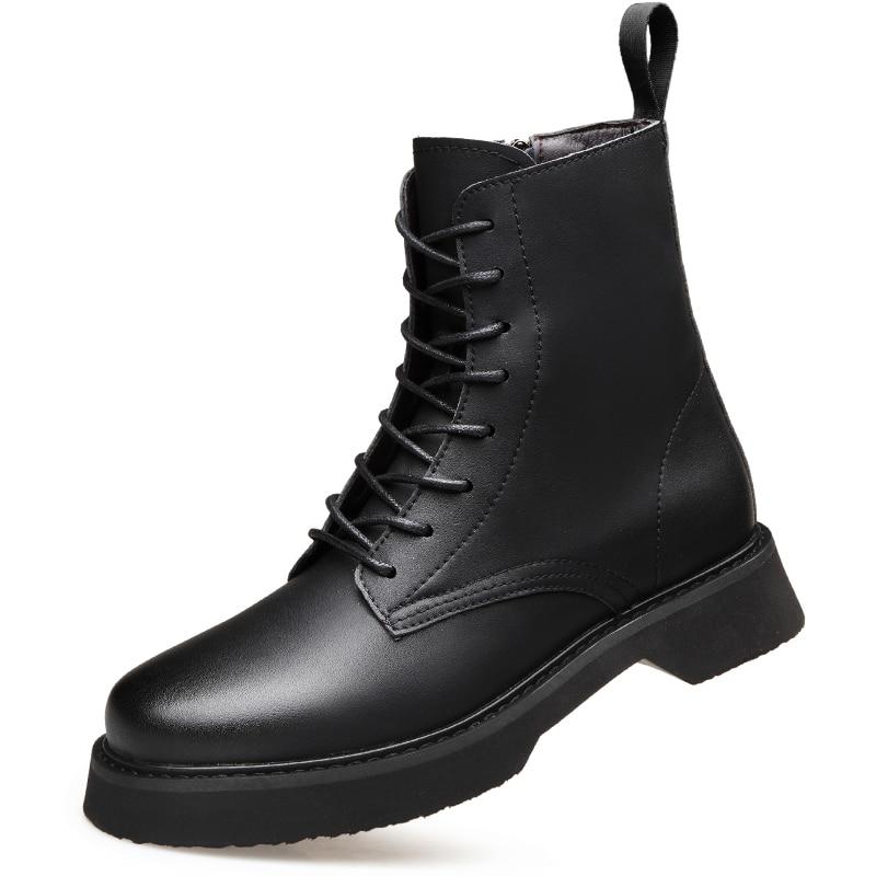Chaussures Bottes Cuir Top Bottine Da0125 Moto Pour Confortables En Mouton De Printemps Noir 1 Peau Articles Automne Chaussants Haute Hommes T15ucFJ3lK