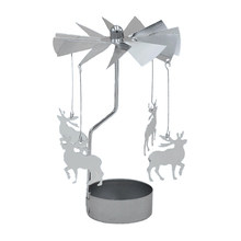 Metal Xmas Rotating Spinning Carrousel Tea Light Candle Holder Center Decor Ornaments Silver Deer/Angel/Star/Heart/Snowflake(China)