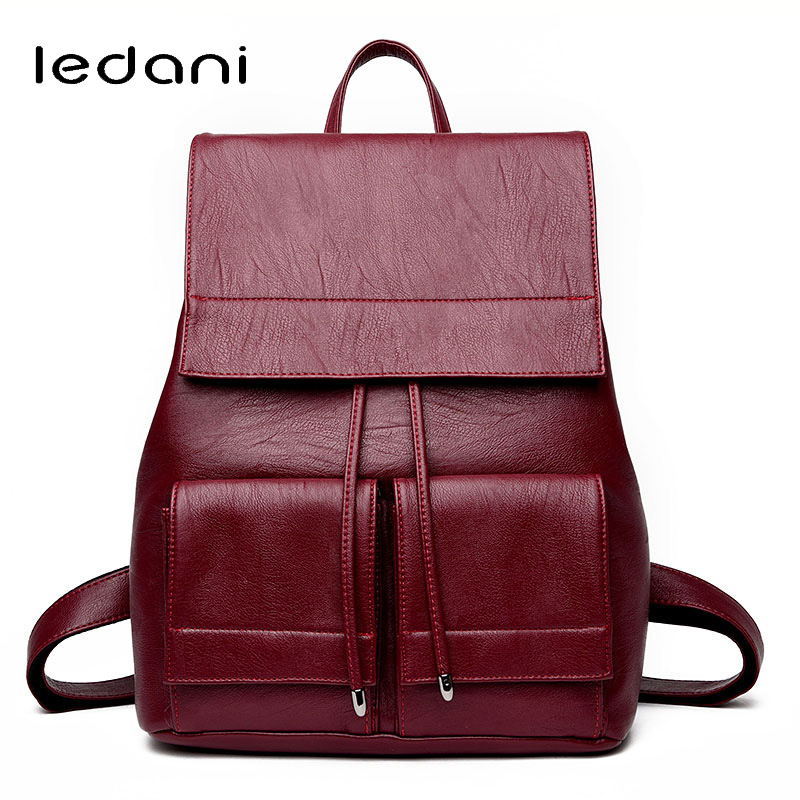 LEDANI Brand Fashion Tassel Women  Backpacks Small PU Leather Backpack Women Simple  Lady Bag School Backpacks Girls Travel Bags women pu leather backpack mansur lady leather backpack girl leather school bag free shipping fashion girls bag