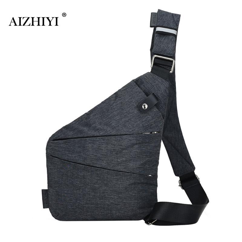 Unisex Anti-Theft Male Chest Bag Men Hidden Shoulder Messenger Bag Casual Retro Crossbody Bag Cool Canvas Motorcycle Sling Bag