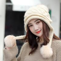 Kagenmo Autumn And Winter Knit Rabbit Fur Knit Hat Fashion All Match Women Fur Cap Thick Long Fluff Ball Ear Protection