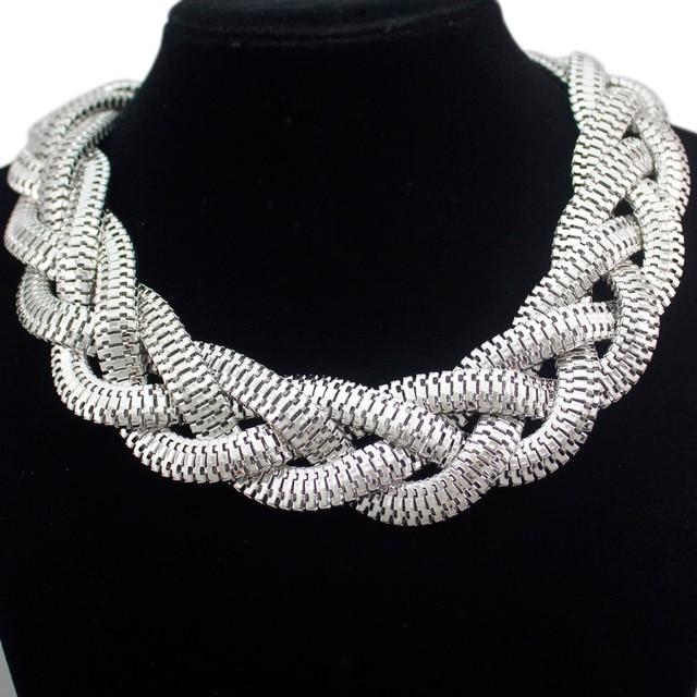 e054d4905a42 Plata Egipto Cleopatra audaz serpiente trenzado cadena gargantilla collar  declaración BiB statment collar