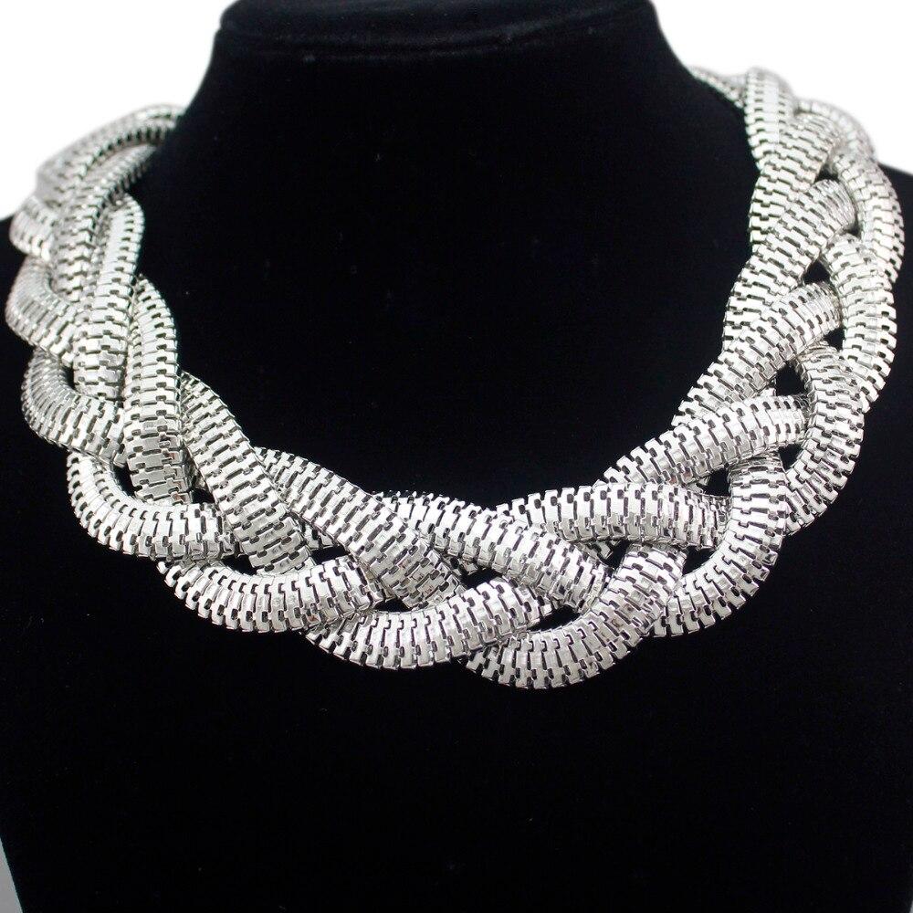 Silver Egypt Cleopatra Bold Snake Braided Chain Statement Collar Choker Bib Statment Necklace Jewelry