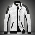 2016 New Arrival Men Fashion PU Jackets Stand Collar Quilting Design Leather Coat High Quality motorcycle jacket