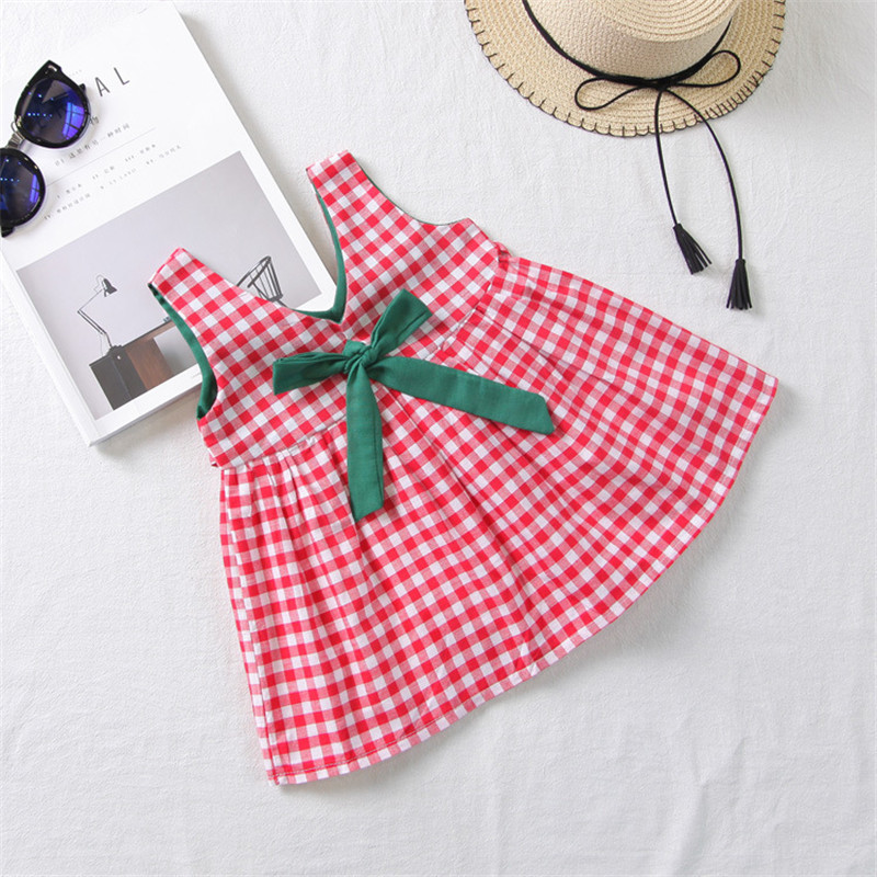 2018 Summer Baby Girls Dresses Toddle Kids Ruffle Princess Plaid Bow Dress Girls Party Vestidos Baby Clothes Tutu Dresses 2-7 Y