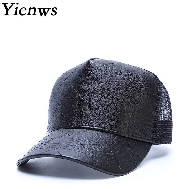 Yienws Leather Baseball Cap for Men Bones Mesh Net Baseball Caps Male Casual Black Trucker Hats Hip Hop Cap Gorras Hombre YIC040