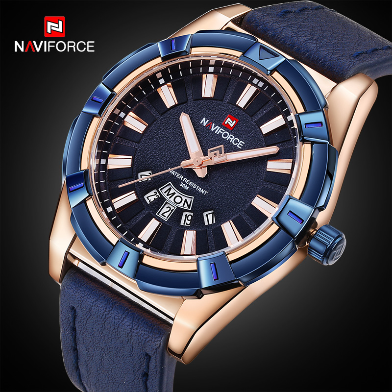 NAVIFORCE Men Watches Top Brand Luxury Leather Quartz Watch Men's Date Sports Wrist Watches Male Analog Clock Relogio Masculino top brand 2017 new mens sports clock watch retro design leather band analog alloy quartz wrist watches relogio masculino