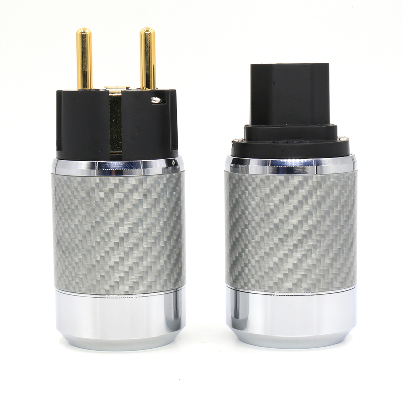 Factory Directly Offer Pair Carbon Fiber Gold Plated EU Schuko Power plug free shipping figure 8 gold plated carbon fiber eu schuko power plug for audio cable