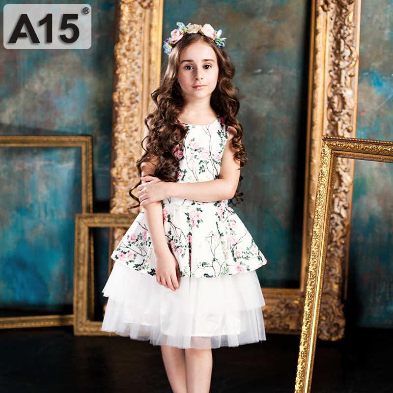 A15/платье белая одежда для девочек-подростков на свадьбу 2017 летнее платье Вечерние платья принцессы для подростков 8, 10, 12, 14, 16 лет