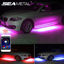 Luces de neón para coche, tiras de lámpara de ambiente, Rgb, interior, decoración Universal, bajo flujo Flexible