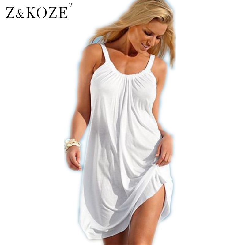 Buy Cheap Z&KOZE Women Strap Loose Vestidos Summer Sleeveless Causal Solid Robe Beach Sundress Party Casual Sexy Mini Dress Swimwear