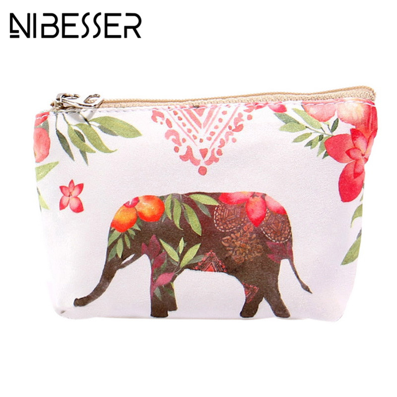 NIBESSER Simple Cartoon Print Women Bag Girls Purse Casual Money Bag Change Pouch Coin Key Holder Canvas Wallet Minimalist Bag