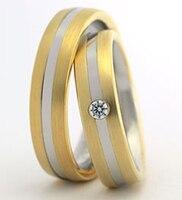 Изготовление под заказ желтый цвет золота здоровья titanium biccolor кольца набор для обувь для мужчин и женщин
