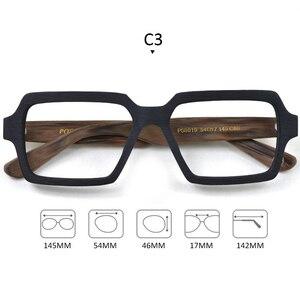 Image 3 - Gafas cuadradas de madera para hombre y mujer, lentes transparentes de marca de lentes, diseño hecho a mano, Estilo Vintage, acetato, S307