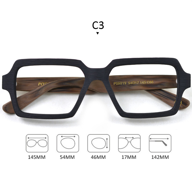 Image 3 - Square Wooden Glasses Men Woman Transparent Lens Brand Design Handmade Eyeglasses Male Vintage Style Acetate Top Quality S307-in Men's Eyewear Frames from Apparel Accessories