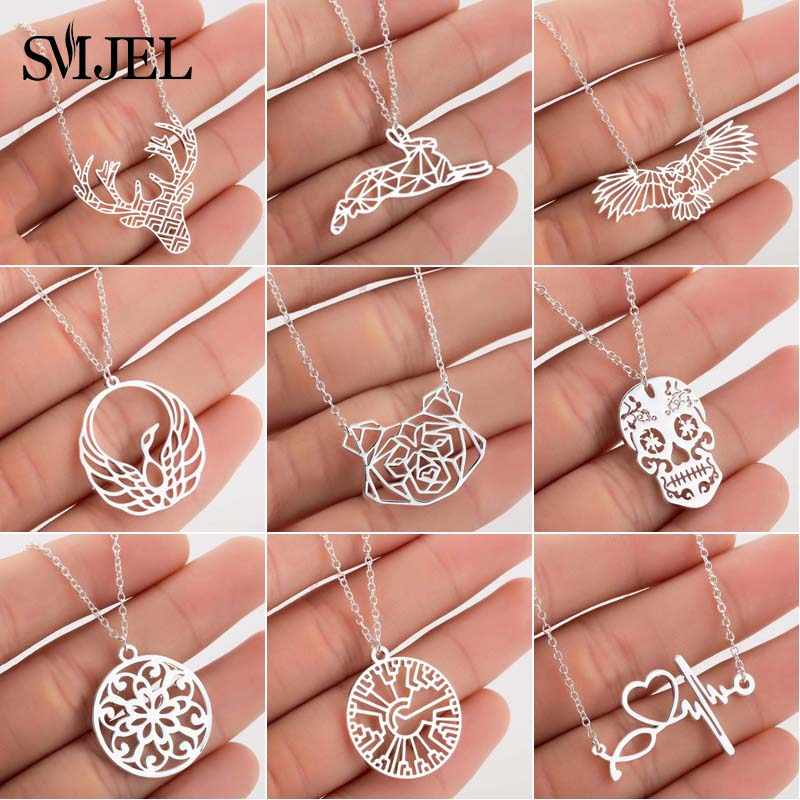 SMJEL Origami Animal Necklaces Women 2019 Cute Deer Owl Bird Statement Necklace Round Charm Jewelry Collier Femme Wholesale