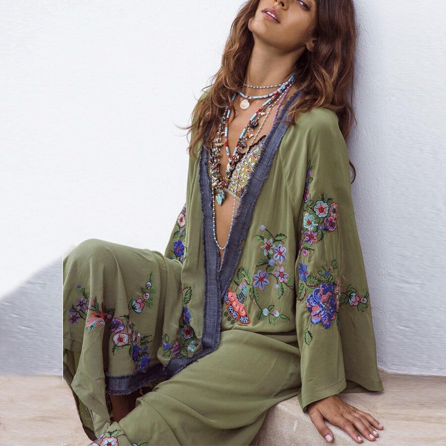 TEELYNN long Boho cardigan vert clair Floral broderie plage porter caftan Robe flare à manches longues été lâche femmes blouses