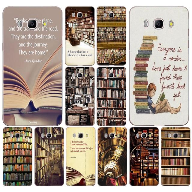 239AD Retro Book Shelf Bookshelf Library Case Cover For Samsung Note 3 4 8 Galaxy