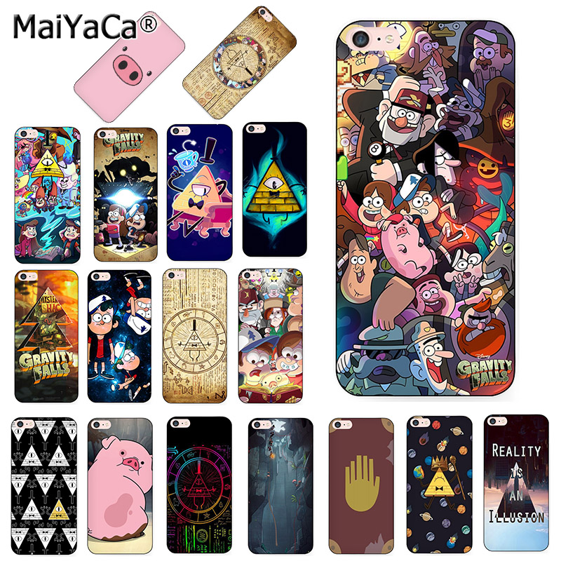 MaiYaCa Gravity Falls pig Printing Drawing black silicone soft phone Case for iPhone 8 7 6S Plus X XR XS 10 5S SE Coque Shell slipper