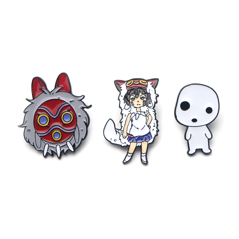 Patchfan Princess Mononoke Zinc tie cartoon Funny Pins backpack clothes brooches for men women decoration badges medals A1451