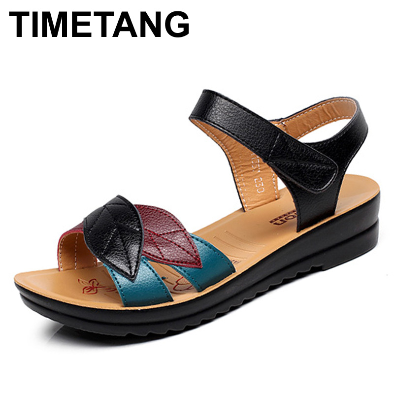 TIMETANG summer new mother sandals soft bottom anti-skid middle-aged fashion Woman sandals flat comfortable women's shoes 35 41 timetang summer new middle aged soft leather mother sandals soft bottom elderly large size flat woman non slip sandals c212