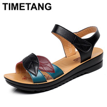 TIMETANG summer new mother sandals soft bottom anti-skid middle-aged fashion Woman sandals flat comfortable women's shoes 35 41