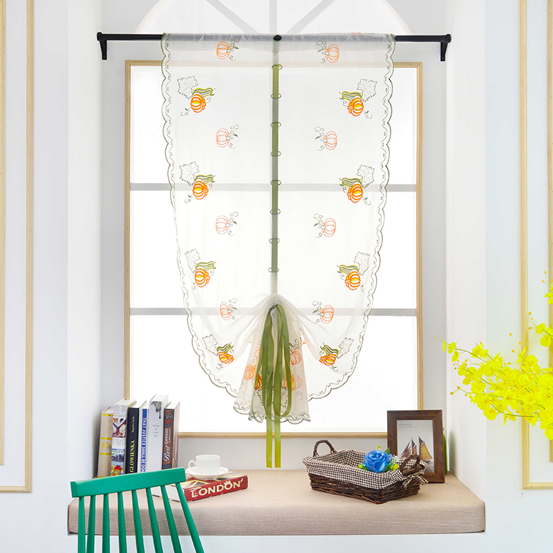 1Piece Green Pear Fruit Roman Curtains Tulle Pastoral Voile Panel For The  Kitchen Window Curtains Living Room Bedroom Tulle P20 In Window Screens  From Home ...