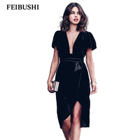 FEIBUSHI Autumn Winter Sexy Evening Party Solid Black Velvet Dress For Women Vintage Sexy Split Party