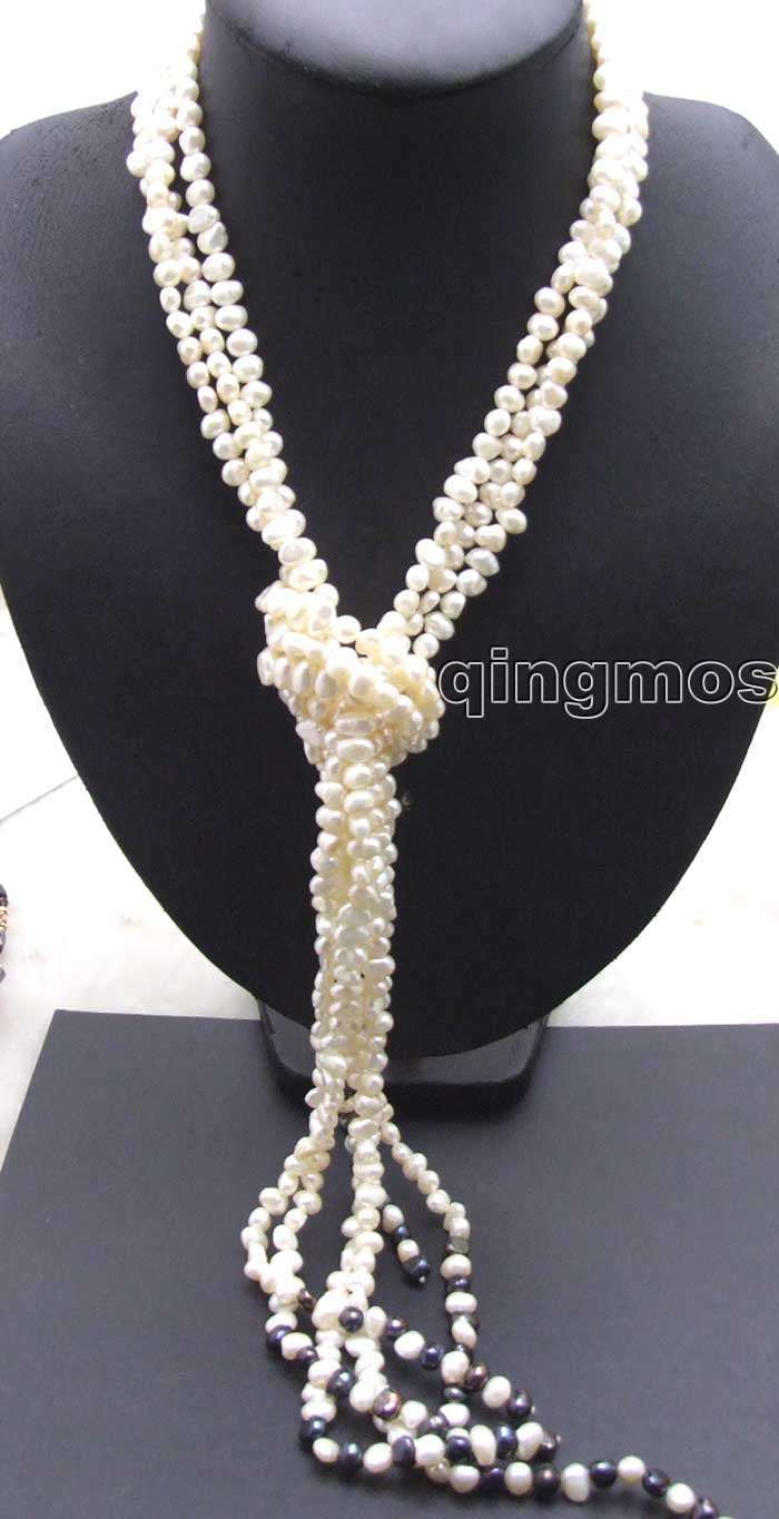 SALE! Natural Supper 45 inch 3 Strands 6-7mm White Baroque natural Pearl Necklace -nec5779 Wholesale/retail Free shipping