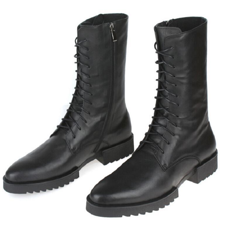 High Vaca Otoño Northmarch Punk Botas Militares Bota Negro De Cuero Cordones Hombre Con Top Moto Masculina Hombres Zapatos Invierno 4zaqzndwSH