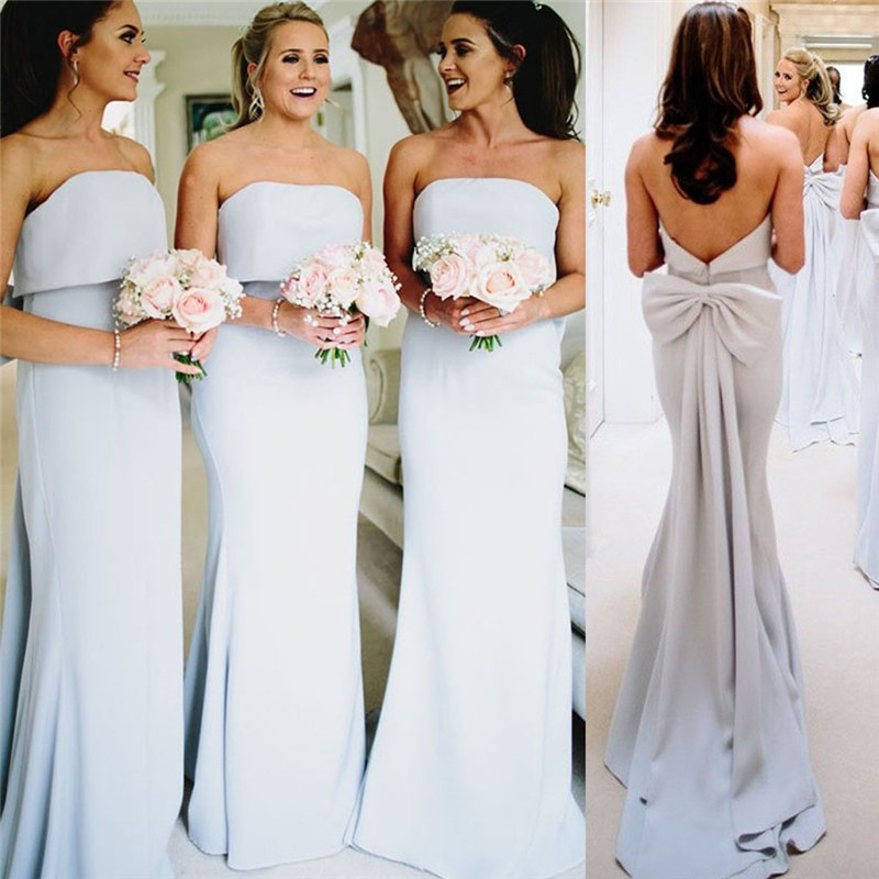 Strapless Mermaid Bridesmaid Dresses 2019 With Bow Long Sweep Train Wedding Guest Dress Formal Maid Of Honor Gowns Plus Size