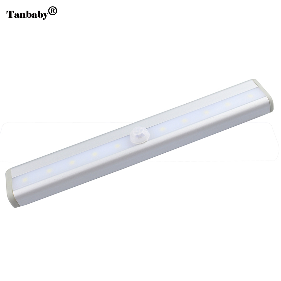 10LEDs Motion Sensor Closet Cabinet LED Night Light Battery Operated Step Cupboard Kitchen Cabinet Light Bar With Magnetic Strip smart led motion auto sensor activated toilet night light bathroom with 8 color changing battery operated washroom nightlight