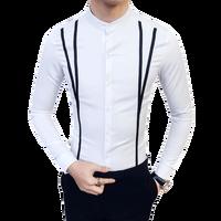 Shopkeeper Wind New Long Sleeved Stand Collar Korean Shirt Male Placket Ribbon Tide Men S Business