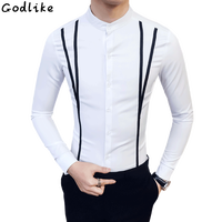 Shopkeeper Wind New Long Sleeved Stand Collar Korean Shirt Male Placket Ribbon Tide Men S Business