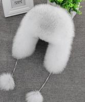In Vendita 100% Reale della pelliccia di Fox delle Donne Russo Colbacco Aviator trapper sci neve Hat caps earflap inverno pelliccia di procione Bomber cappello
