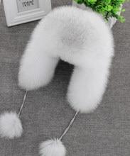 2020 sombrero de 100% piel de zorro auténtica para mujer ruso Ushanka aviador cazador esquí en nieve sombrero gorra orejera invierno Piel de mapache bombardero sombrero