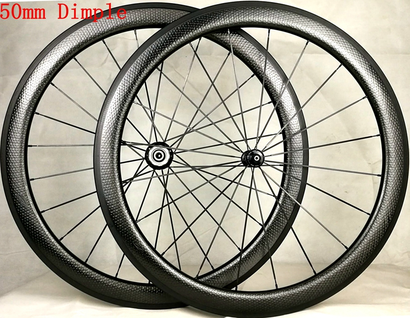 special brake surface 50mm dimple wheelset clincher tubeless carbon wheel with logo