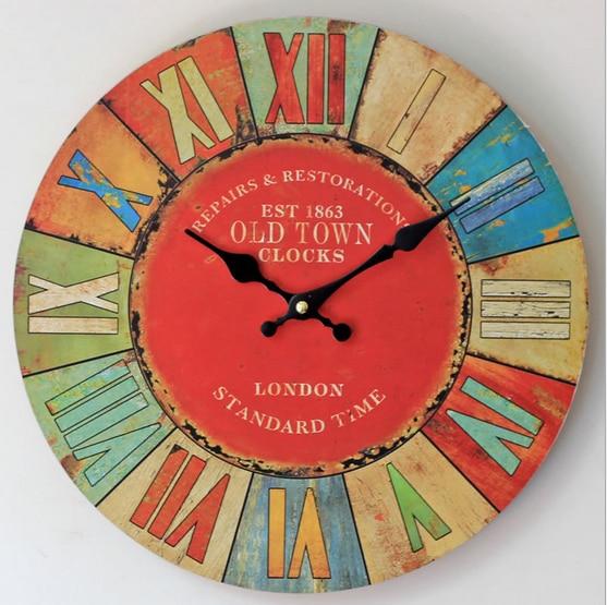 1 X Colorful Roman Nomor Jam Bisu Jam Dinding Antik Pedesaan Kayu Bulat  Dipasang Hotel Rumah Ruang Tamu Dekorasi 35 cm di Wall Clocks dari Rumah    Taman ... f75efeedfa