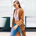 YNZZU 2016 Mulher Roupas Cor Sólida Longo-Manga Senhora Longo Trench Coats Casaco De Veludo Casual Streetwear YO190 chaquetas mujer