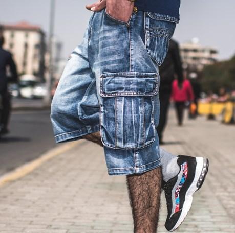 Əlavə Ölçü Mens Denim Biker Baggy Cargo Mavi Cins Şalvar - Kişi geyimi - Fotoqrafiya 2