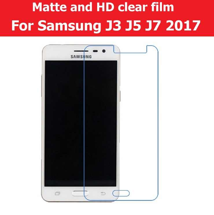 Screen Protector HD Clear Glossy Film For Samsung Galaxy J3 J5 J7 2017 Matte Film Anti-Glare LCD panel guard+cloth+retail pack