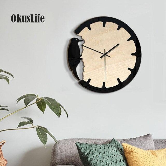 2019 Kreative Wand Montiert Uhr Specht Tier Design Fur Europaischen Wohnzimmer Haus Dekoration Klassische Holz Quarz