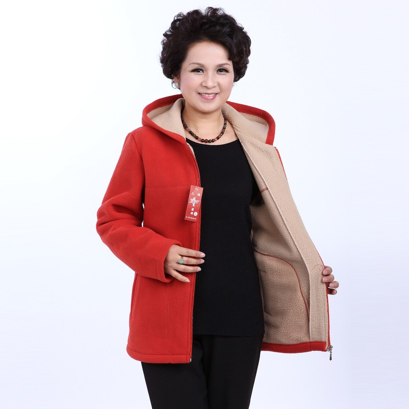 Winter Middle Aged Womens Hooded Imitation Lambs Fleece Jackets Ladies Warm Soft Velevt Coats Mother Overcoats Plus Size (15)