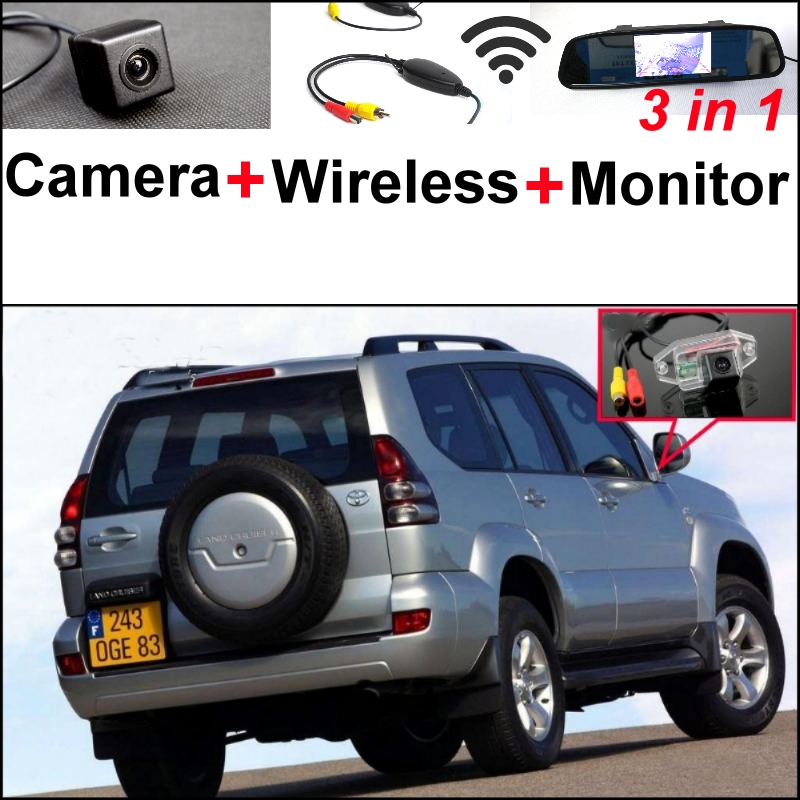 3 in1 Special Camera + Wireless Receiver + Mirror Monitor Parking System For TOYOTA Land Cruiser Prado J90 J120 J150 1996~2015 wireless pager system 433 92mhz wireless restaurant table buzzer with monitor and watch receiver 3 display 42 call button